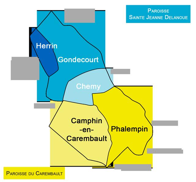 Carte des paroisses Sainte Jeanne Delanoue et du Carembault
